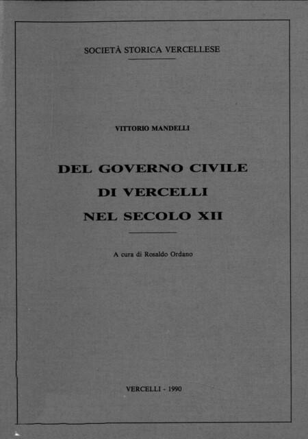 Del governo civile di Vercelli nel secolo XII